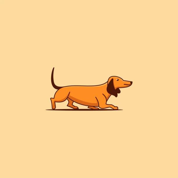 bildbanksillustrationer, clip art samt tecknat material och ikoner med vektor illustration tax enkel maskot linje konststil - hunddjur