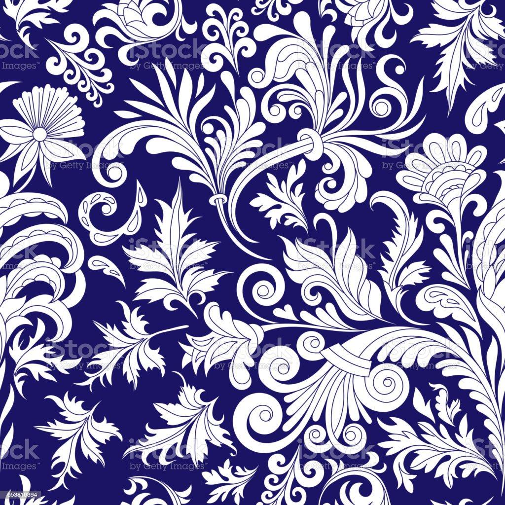 Decorative Design Element Filigree Calligraphy Retro Seamless Pattern Antique Style Acanthus