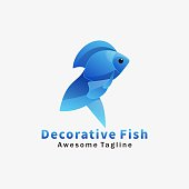 Vector Illustration Decorative Fish Gradient Colorful Style.