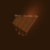 Vector illustration dedicated to the world chocolate day. Chocolate bar with melting chocolate drops. Dark brown background with gradient. Banner, poster, logo, sign. For various purposes of your design.
