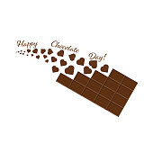 Vector illustration dedicated to the world chocolate day. Chocolate bar with flying chocolate stars. Isolation on a white background. Banner, poster, logo, sign. For various purposes of your design.