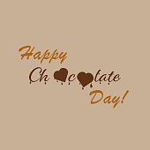 Vector illustration dedicated to the world chocolate day. Happy chocolate day. Chocolate hearts and melting drops. Banner, poster, logo, signboard. For various purposes of your design.