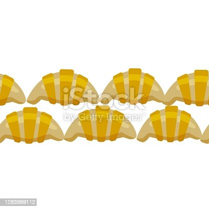 istock Vector illustration delicious pastries, cookies, croissants, biscuits in doodle style, background with place for text 1283999112