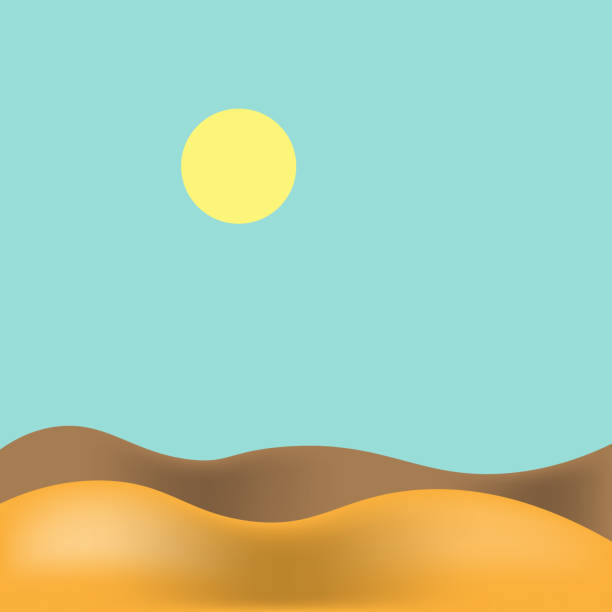 векторная иллюстрация. пустынный пейзаж с голубым небом и солнцем. пустыня фон - uae national day stock illustrations