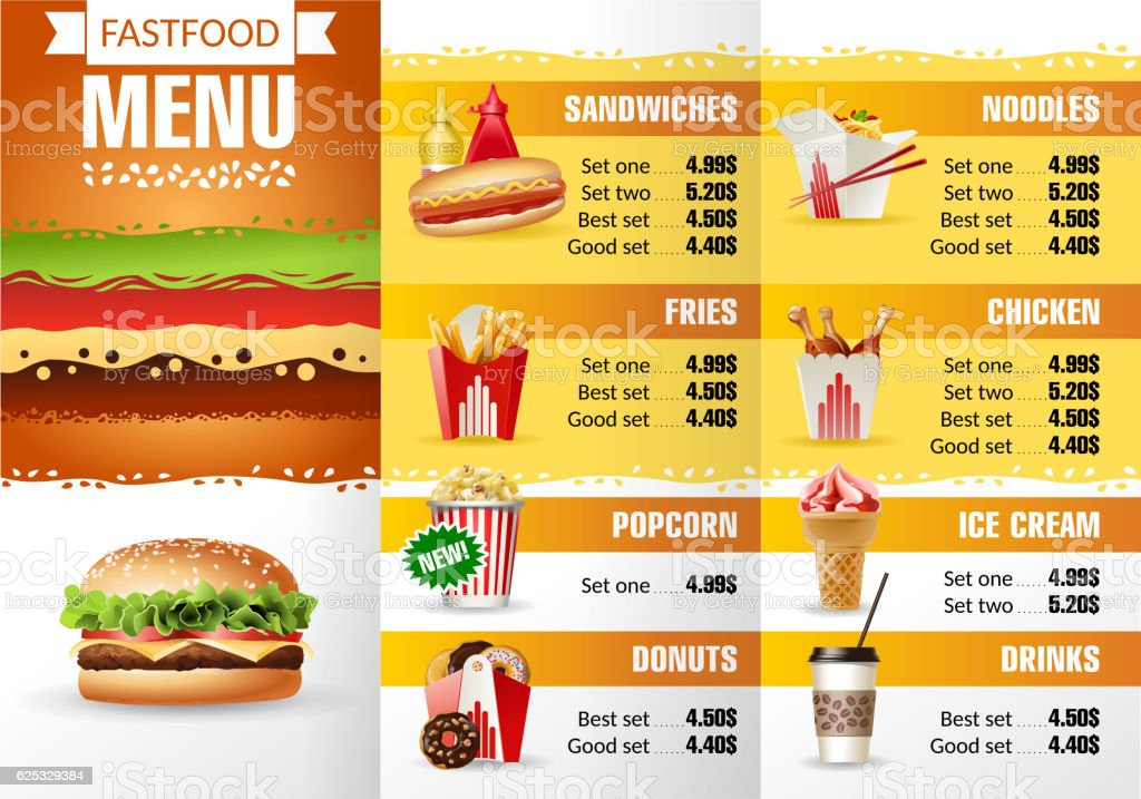 Vector Illustration Design Menu Fast Food Restaurant Stock Vector