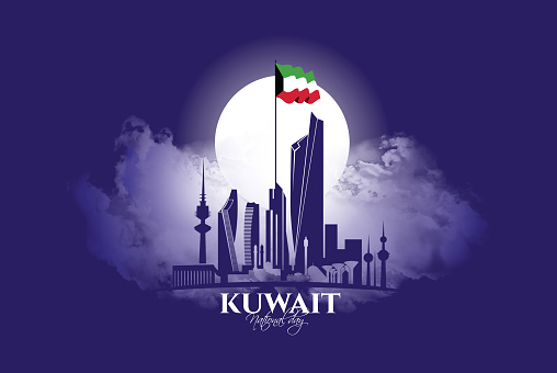 vector illustration. design of the schedule for the holidays of Kuwait. The 25th day is the national holiday, the day of independence. February 26 is the day of liberation of Kuwait vector