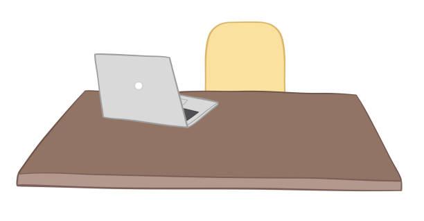 Vektor-Illustration Schreibtisch, Stuhl und Laptop. Von Hand gezeichnet. – Vektorgrafik