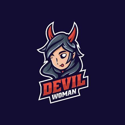 Vector Illustration Devil Woman E Sport and Sport Style.