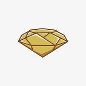 Vector Illustration Diamond Gold Color Line Art Style.