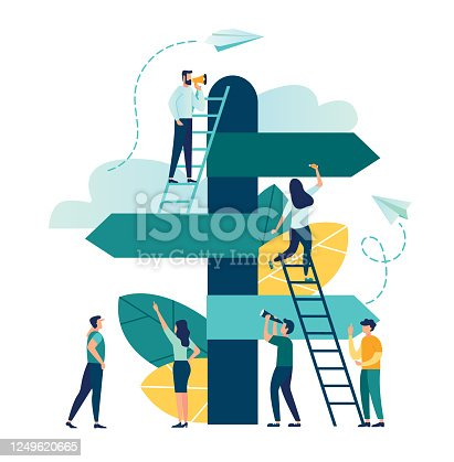 istock Vector illustration, direction sign in different, destination, choice of directions, travel to different places 1249620665