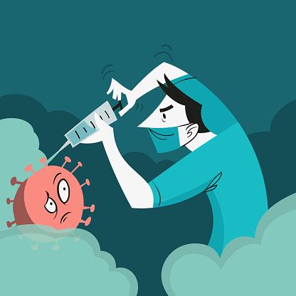 vector illustration - doctor repelling covid virus