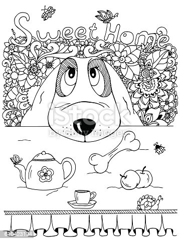 istock Vector illustration , Dog and kitchen table. Doodle flowers. Meditative exercise 610423104