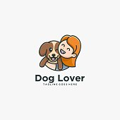 Vector Illustration Dog Lover With Children Simple Mascot Style.