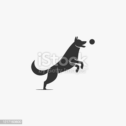 Vector Illustration Dog Playing Ball Silhouette Style.