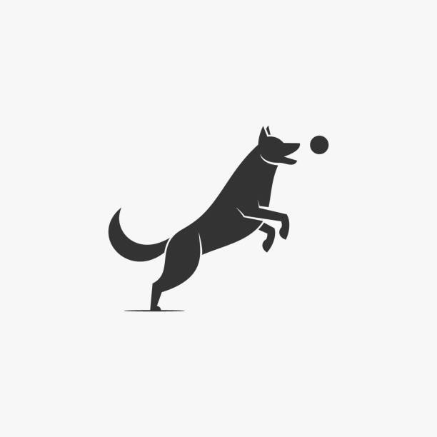 Vector Illustration Dog Playing Ball Silhouette Style. Vector Illustration Dog Playing Ball Silhouette Style. domestic animals stock illustrations