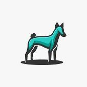 Vector Illustration Dog Pose Mascot Cartoon Style.