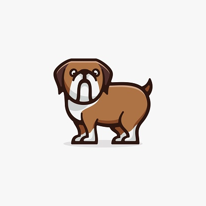 Vector Illustration Dog Simple Mascot Style.