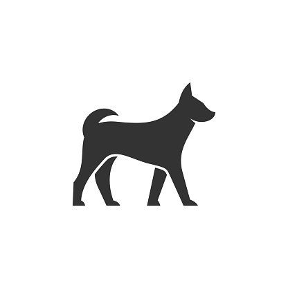 Vector Illustration Dog Walking Silhouette Style.