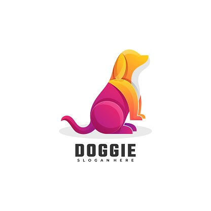 Vector Illustration Doggie Gradient Colorful Style.