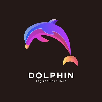 Vector Illustration Dolphin Gradient Colorful Style.