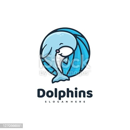 istock Vector Illustration Dolphin Simple Mascot Style. 1270566551