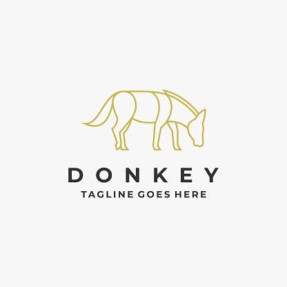 Vector Illustration Donkey Pose Line Art Style.