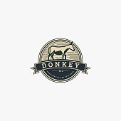 Vector Illustration Donkey Vintage Badge Style.