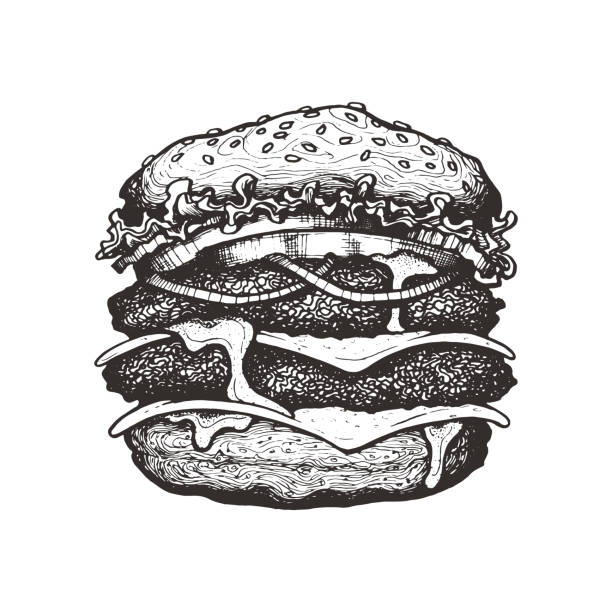 vector illustration. double cheeseburger with cheese, tomato, onion and lettuce. big beef burger with vegetables. hand drawn ink sketch. graphic vintage element. isolated on white background - cheeseburger stock illustrations