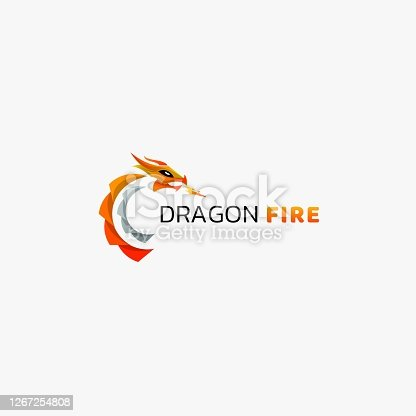 Vector Illustration Dragon Fire Gradient Colorful Style.