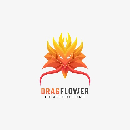 Vector Illustration Dragon Flower Gradient Colorful Style.