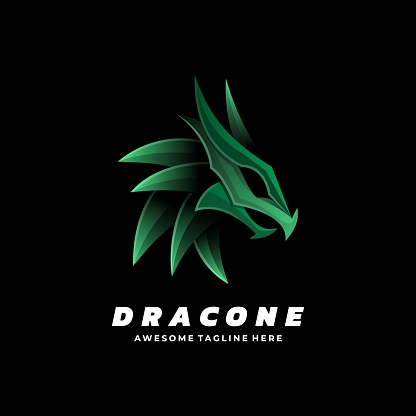 Vector Illustration Dragon Gradient Colorful Style