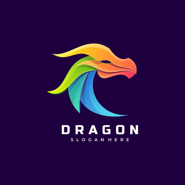 Vector Illustration Dragon Gradient Colorful Style. Vector Illustration Dragon Gradient Colorful Style. reptiles stock illustrations