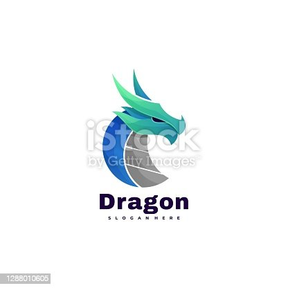 istock Vector Illustration Dragon Gradient Colorful Style. 1288010605