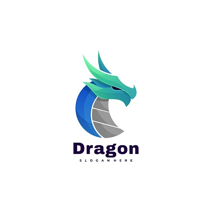Vector Illustration Dragon Gradient Colorful Style.