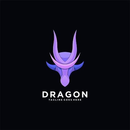 Vector Illustration Dragon Head Colorful Style.