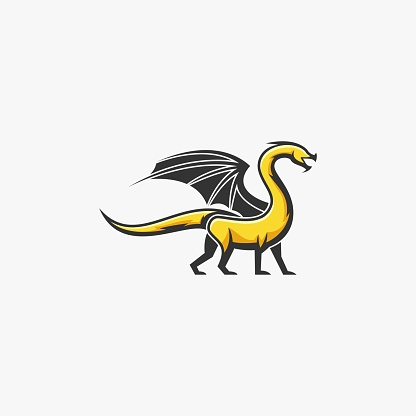 Vector Illustration Dragon Mascot Cartoon Style.