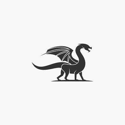 Vector Illustration Dragon Silhouette Style.