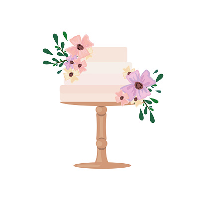 Vector illustration. Drawing of a cake on a cake bowl in flowers and herbs. Dessert concept with decor.