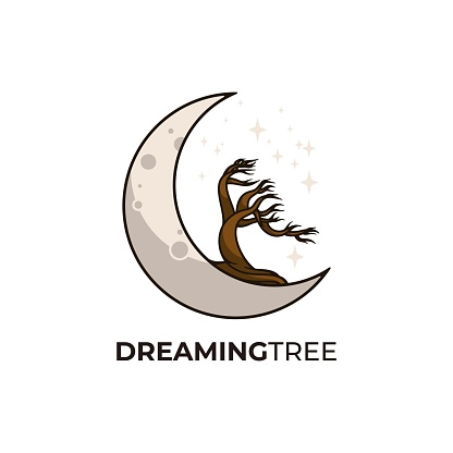Vector Illustration Dreaming Tree Land Scape Vintage Badge Style.