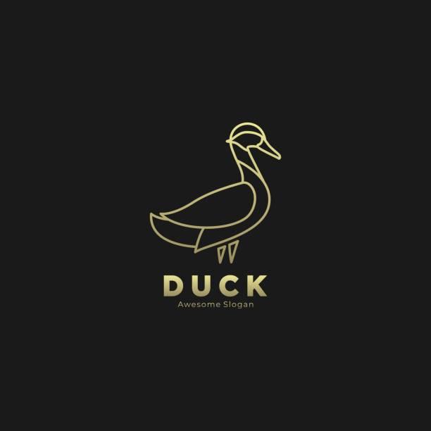Vector Illustration Duck Elegant Gold Color Luxury Style. Vector Illustration Duck Elegant Gold Color Luxury Style. ducking stock illustrations