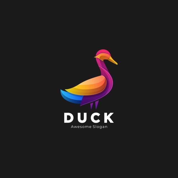 Vector Illustration Duck Elegant Gradient Colorful Style. Vector Illustration Duck Elegant Gradient Colorful Style. ducking stock illustrations