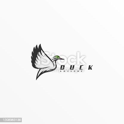 Vector Illustration Duck Flying Line Art Style.