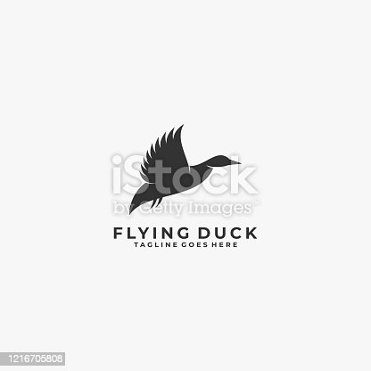 Vector Illustration Duck Flying Silhouette Style.