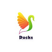 Vector Illustration Duck Gradient Colorful Style.