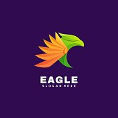 Vector Illustration Eagle Gradient Colorful Style.