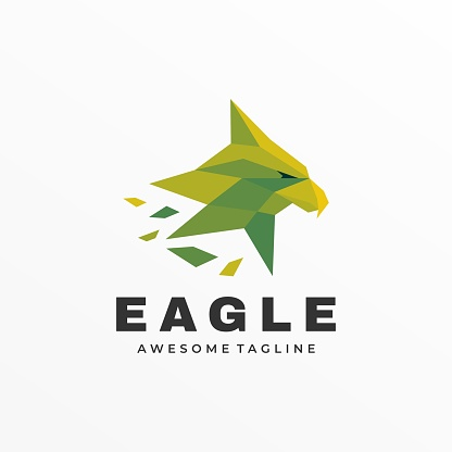 Vector Illustration Eagle Low Poly Color Style.