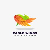 Vector Illustration Eagle Wings Gradient Colorful Style.