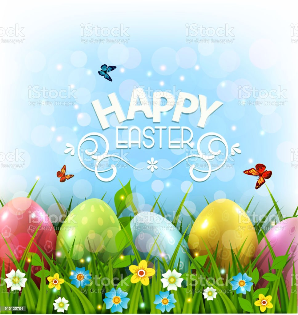 Vector Illustration Easter Greeting Card With Colorful Eggs Lying On