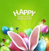 Vector illustration. Easter greeting card with hare ears, eggs, daisies on a green background. Design element, greeting card template