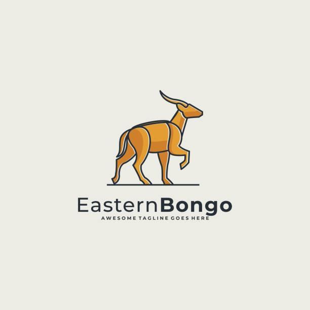 Vector Illustration Eastern Bongo Line Art. Vector Illustration Eastern Bongo Line Art. hoofed mammal stock illustrations